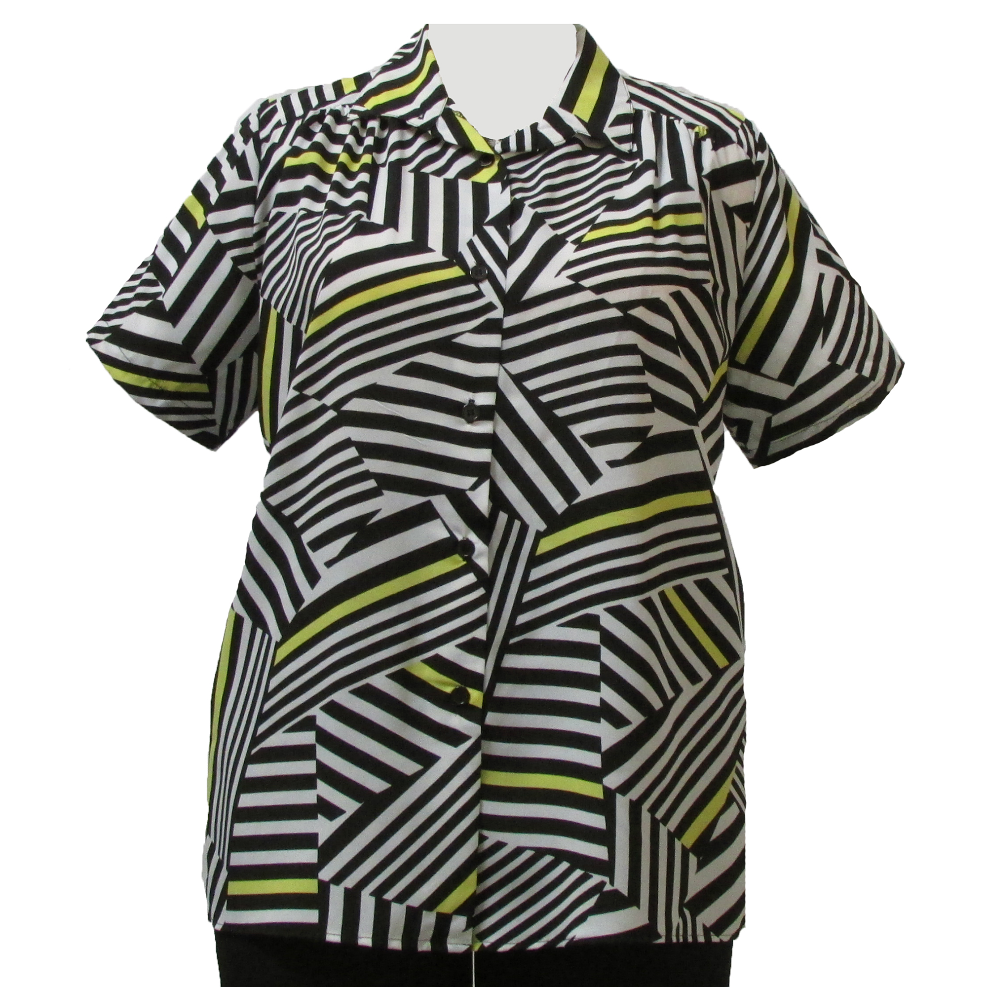 A Personal Touch Black & White Geometric short sleeve tunic with