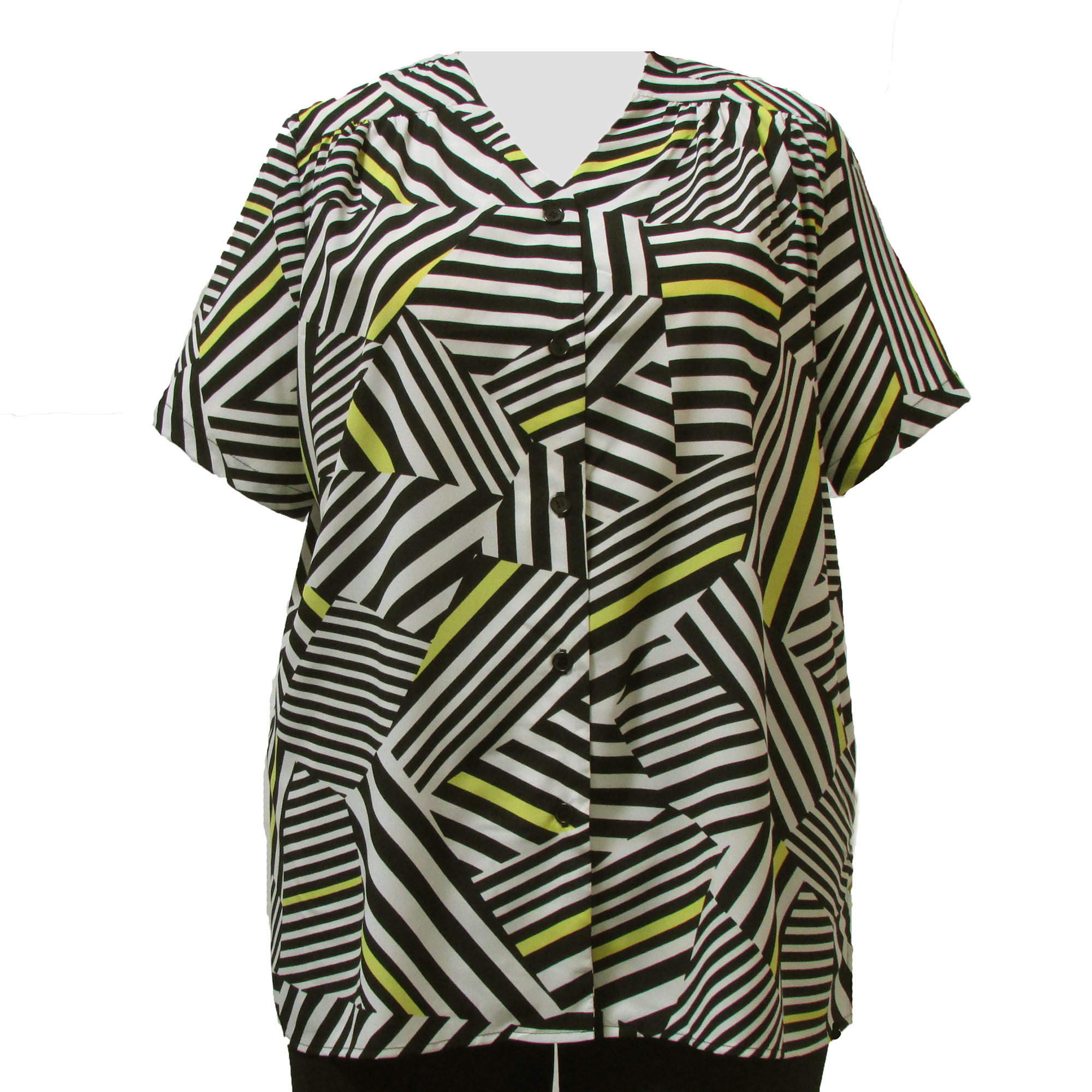 A Personal Touch Black & White Geometric V-Neck Baseball Shirt with shirring Woman's Plus Size Blouse at Sears.com