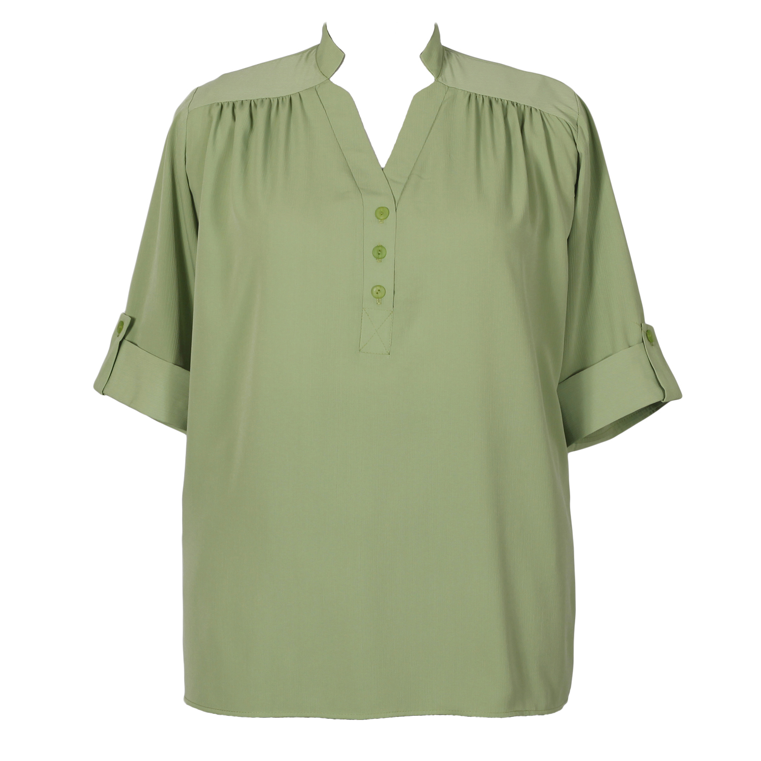 A Personal Touch Kiwi Green Pullover Placket Blouse - Plus Size Woman's Blouse - 0x - Clothing ...