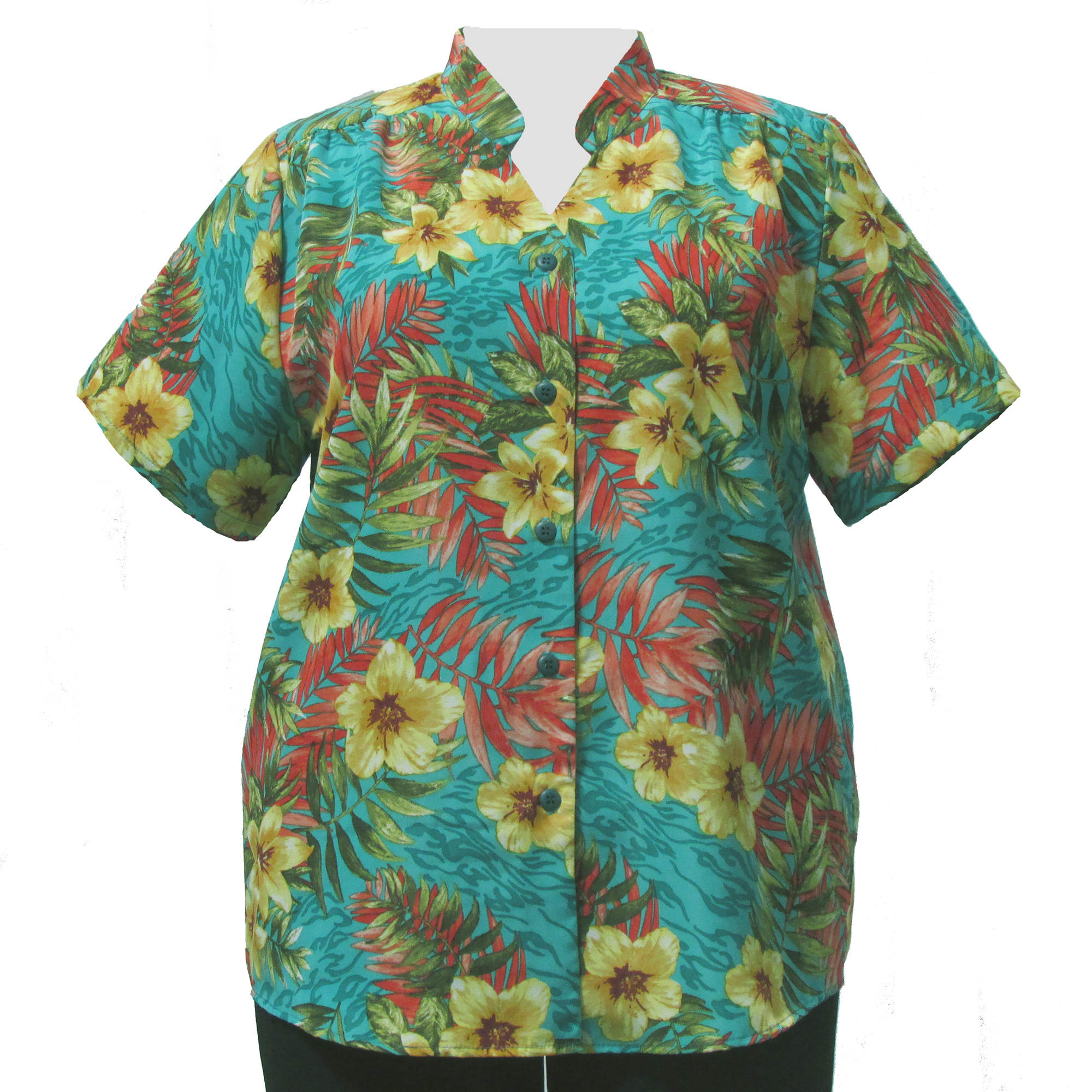 A Personal Touch Teal Hibiscus Mandarin Collar V-Neck Tunic Plus Size Woman's Blouse at Sears.com