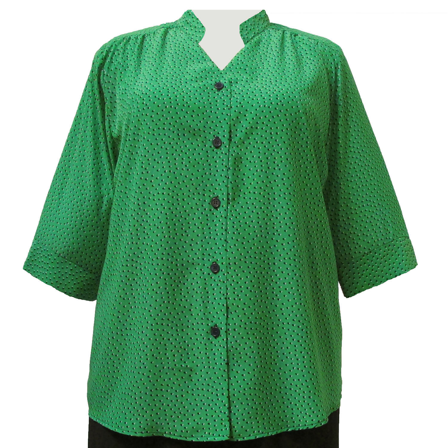 A Personal Touch Kelly Green Ditsy 3/4 Sleeve Mandarin Collar V-Neck Tunic Plus Size Woman's Blouse at Sears.com