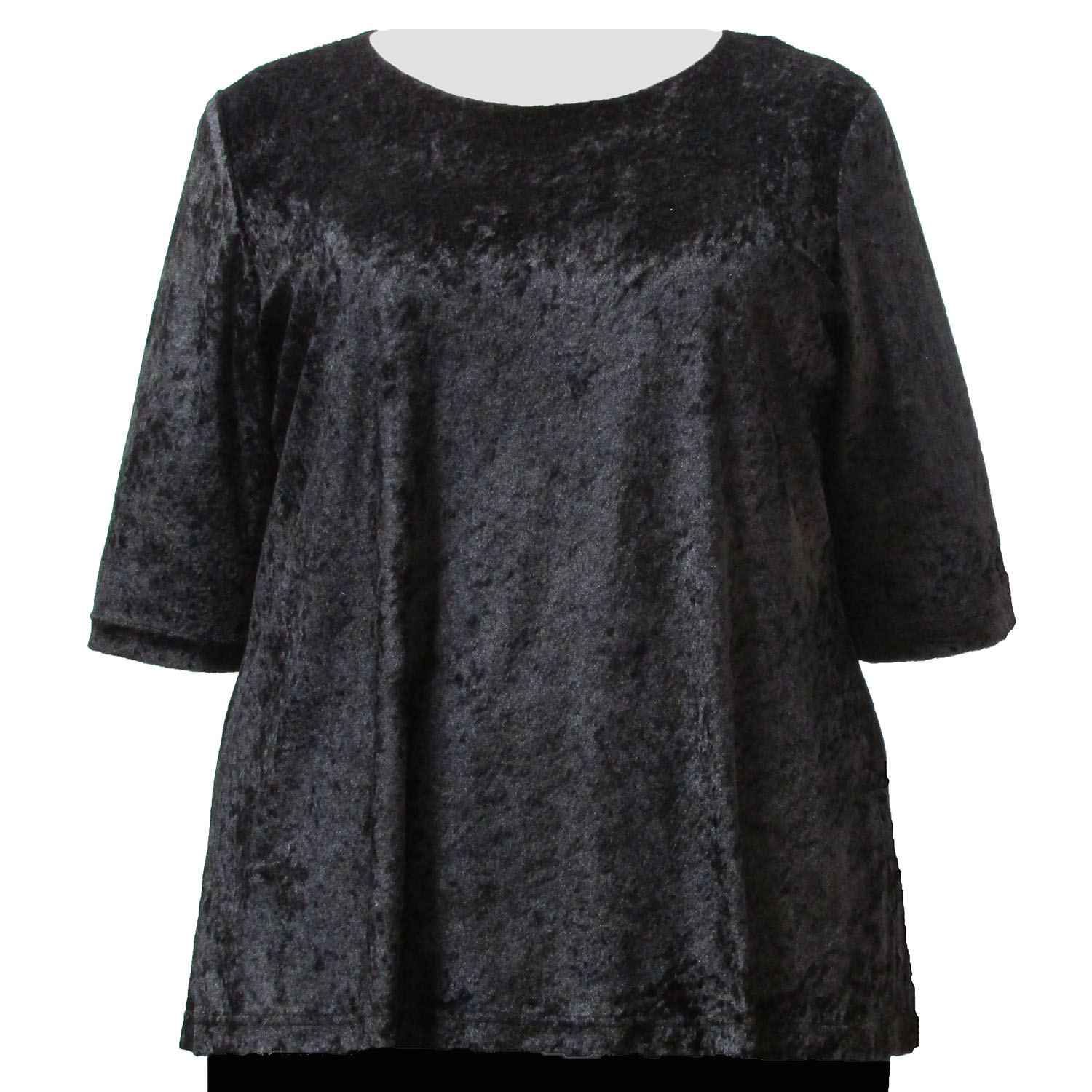 A Personal Touch Black Crushed Panne 3/4 Sleeve Round Neck Pullover Top Woman's Plus Size Top at Sears.com